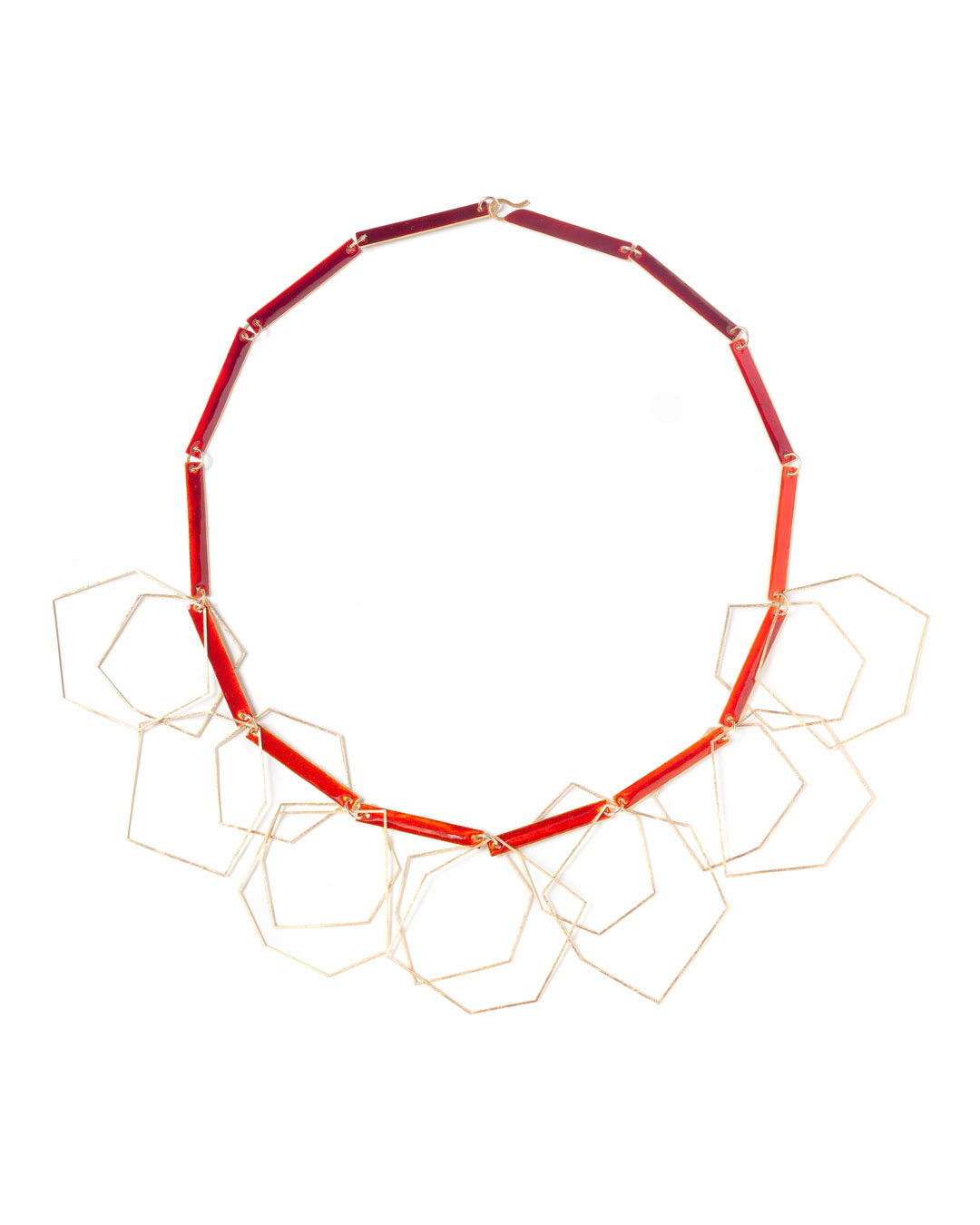 Karola Torkos, untitled, 2020, necklace; etched gold-plated silver, 18ct gold, 14ct gold, Ceramit enamel, L 570 mm, €2350