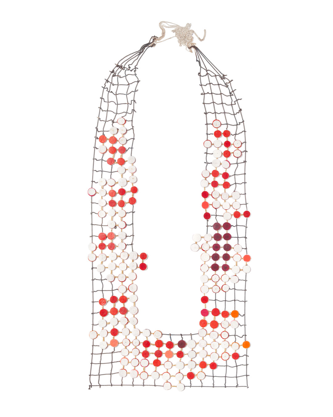 Karola Torkos, Space Between, 2020, necklace; plastic, oxidised silver, textile, 190 x 400 mm, €1700