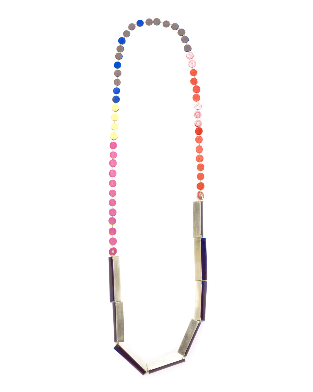 Karola Torkos, untitled, 2020, necklace; silver, 14ct gold, plastic, Ceramit enamel, L 1040 mm, €880