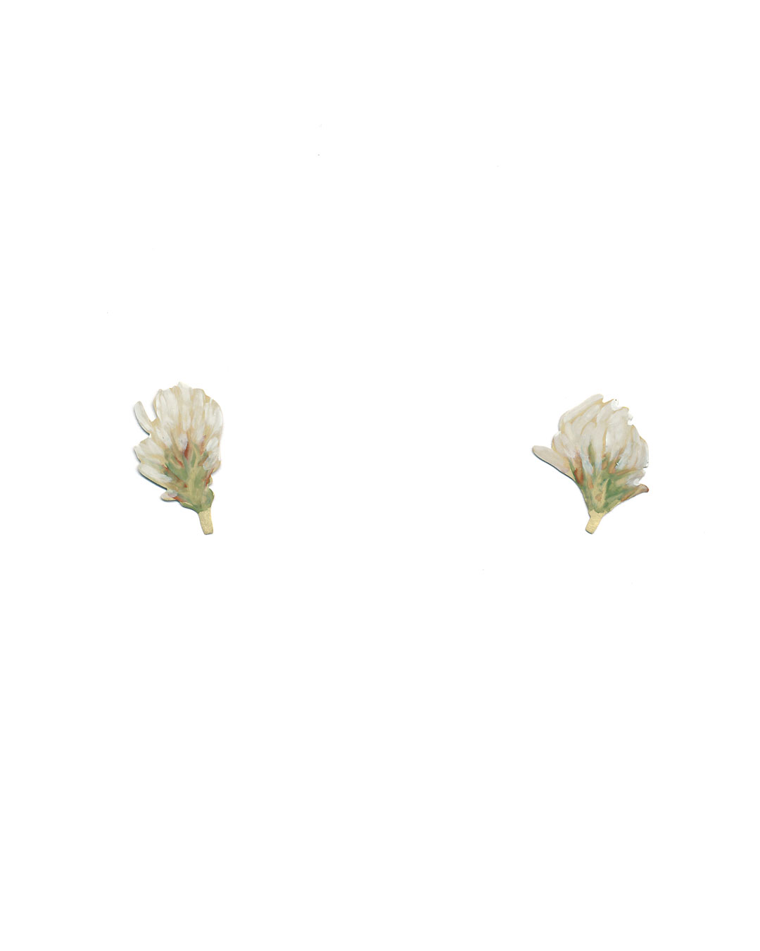 Christopher Thompson Royds, White Clover, 2019, earrings; 18ct gold, hand-painted, diamonds, 22 x 19 mm, €1150