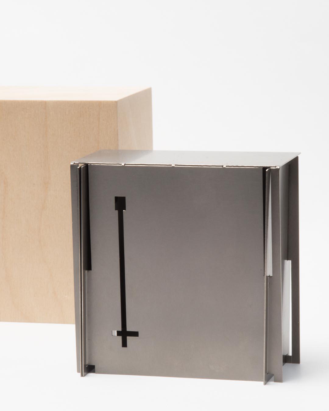 Junwon Jung, untitled, 2019, brooch; galvanised steel, wood, 75 x 75 x 40 mm, €2450 (image 1/2)