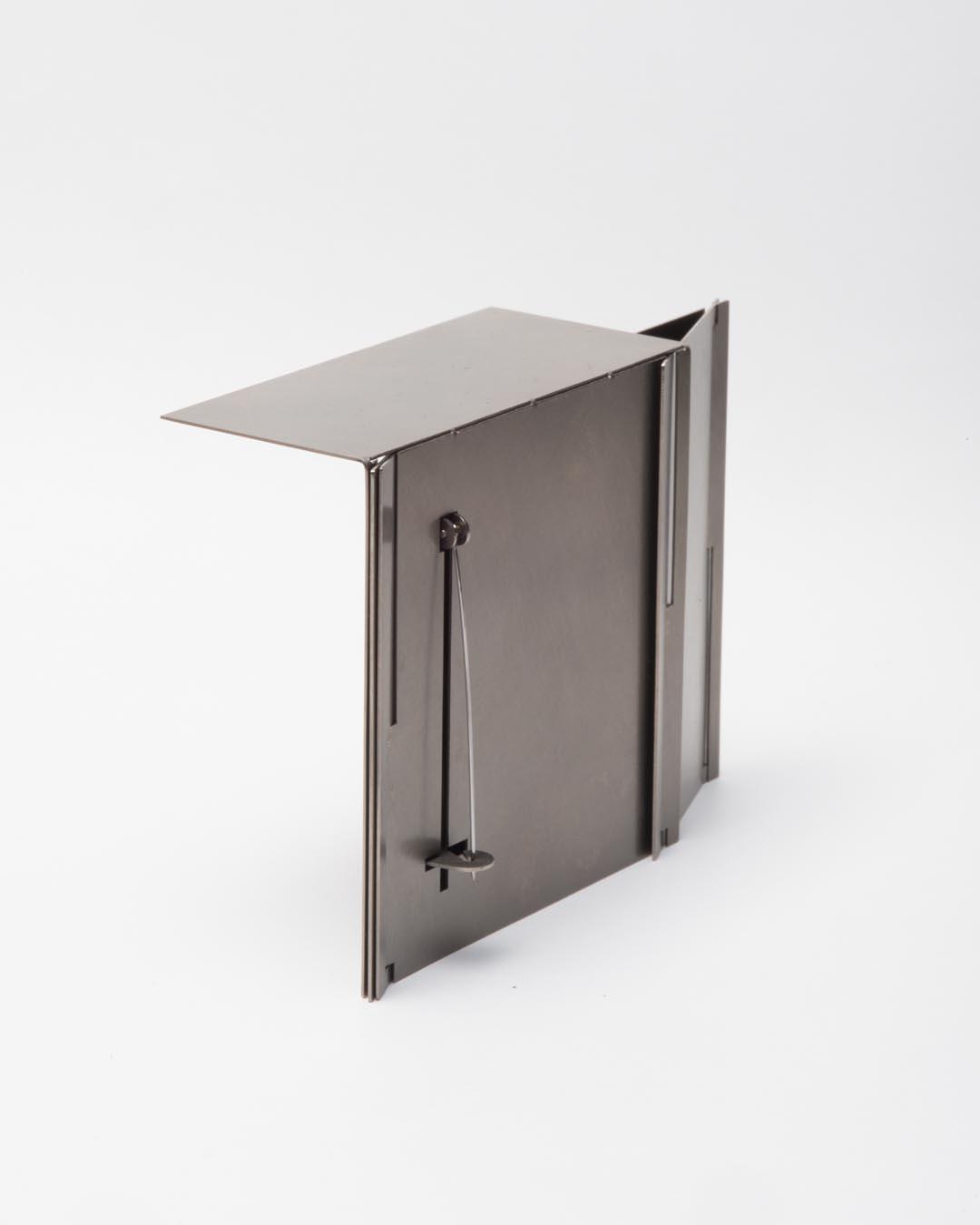 Junwon Jung, untitled, 2019, brooch; galvanised steel, wood, 75 x 75 x 40 mm, €2450 (image 2/2)