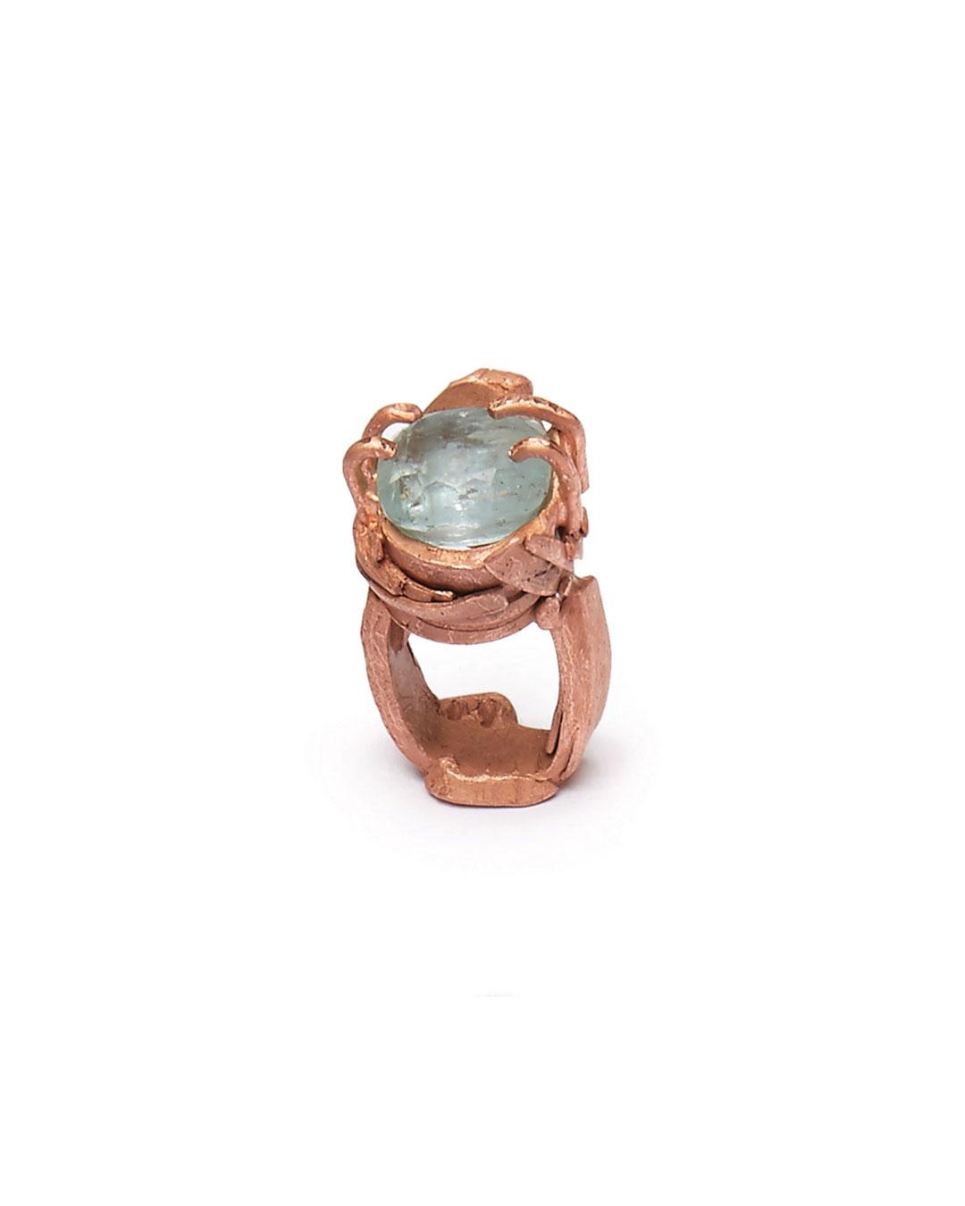Iris Bodemer, Notizen (Notes), 2016, ring; bronze, aquamarine, 40 x 25 x 25 mm, €1250