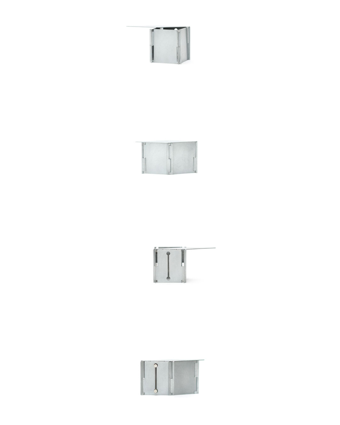 Junwon Jung, Box 4, 2019, brooch; zinc, silver, steel, wood, 75 x 35 x 80 mm, €2420 (image 1/2)