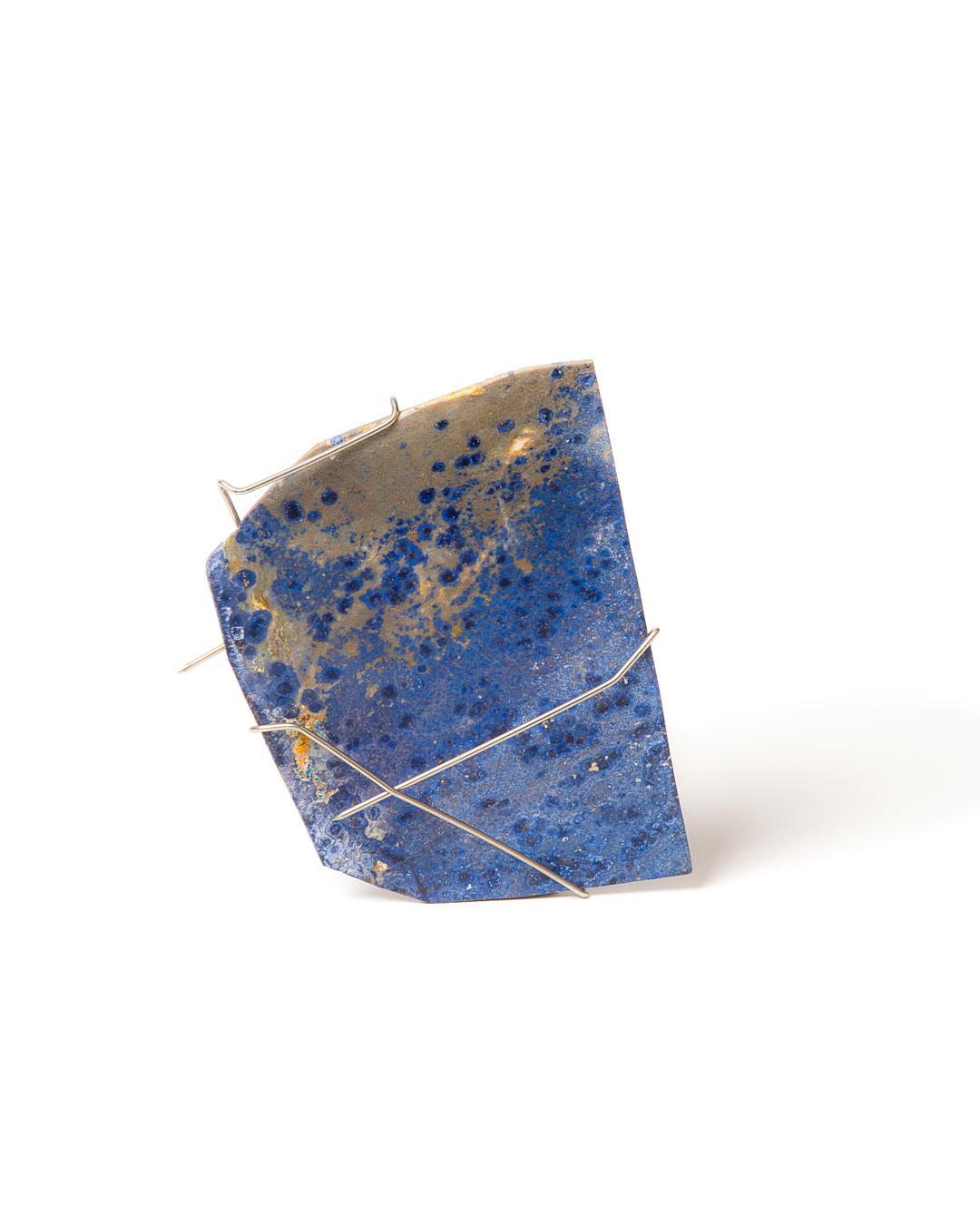 Rudolf Kocéa, Aura, 2019, brooch; sodalite, stainless steel, 130 x 100 x 5 mm, €1250