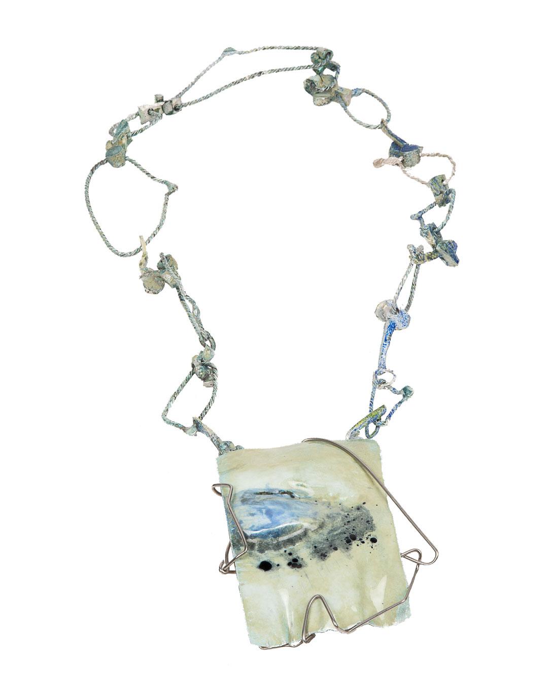 Rudolf Kocéa, Tears, 2019, necklace; fine silver, enamel, stainless steel, pendant: 80 x 110 x 20 mm, L 600 mm, €6500