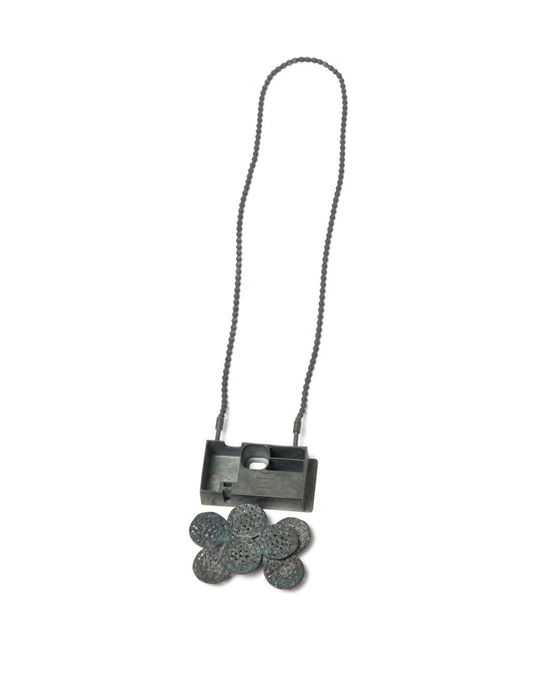 Winfried Krüger, untitled, 2013, necklace; oxidised silver, lead strapping, textile, element 70 x 70 mm, €2920