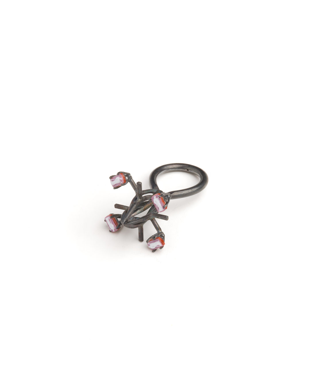 Winfried Krüger, untitled, 1997, necklace, ring; oxidised silver, stones, 150 x 150 mm, 50 x 25 mm, €1940 (image 2 of 2 - ring)