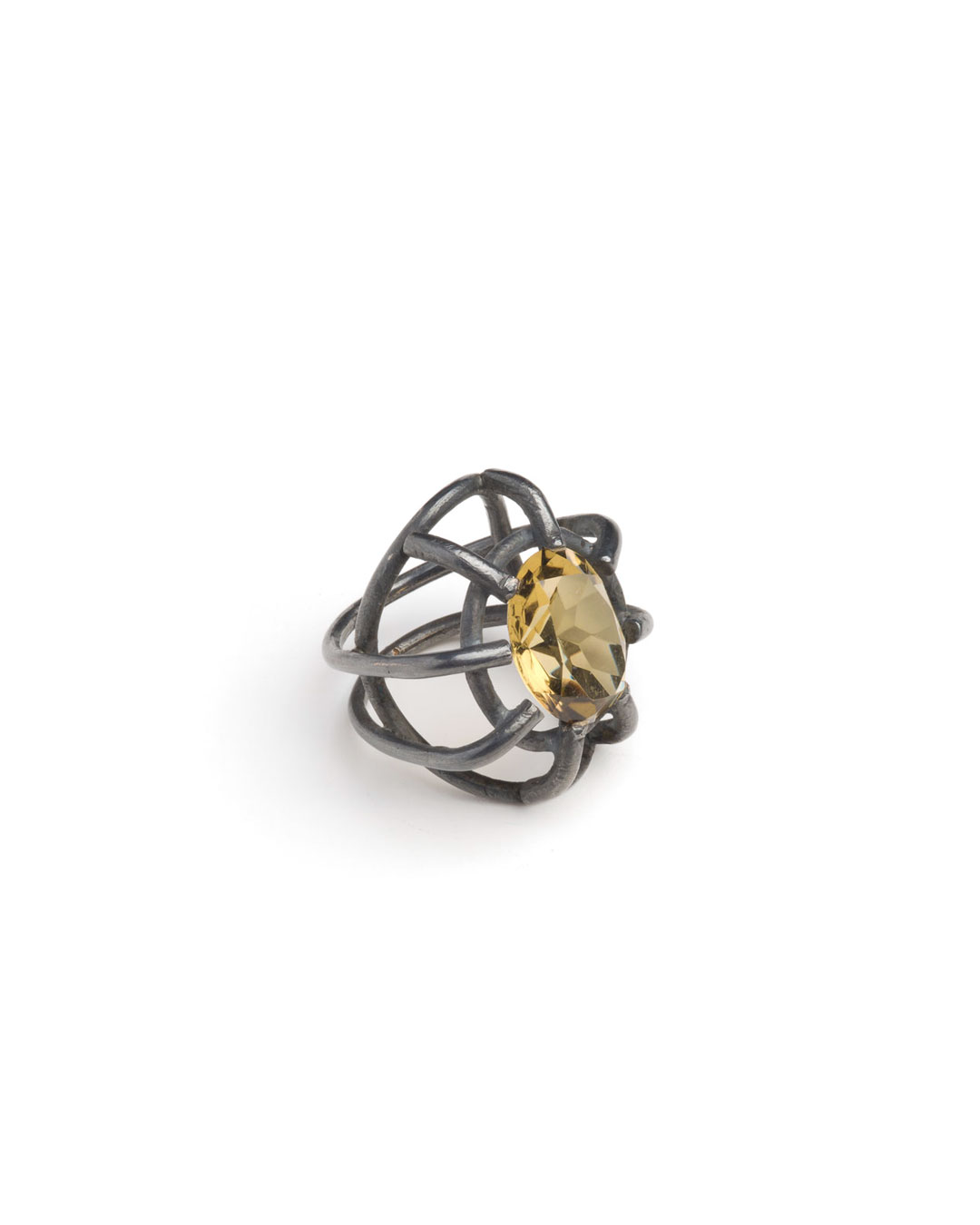 Winfried Krüger, untitled, 1996, ring; oxidised silver, citrine, ø 40 mm, €970