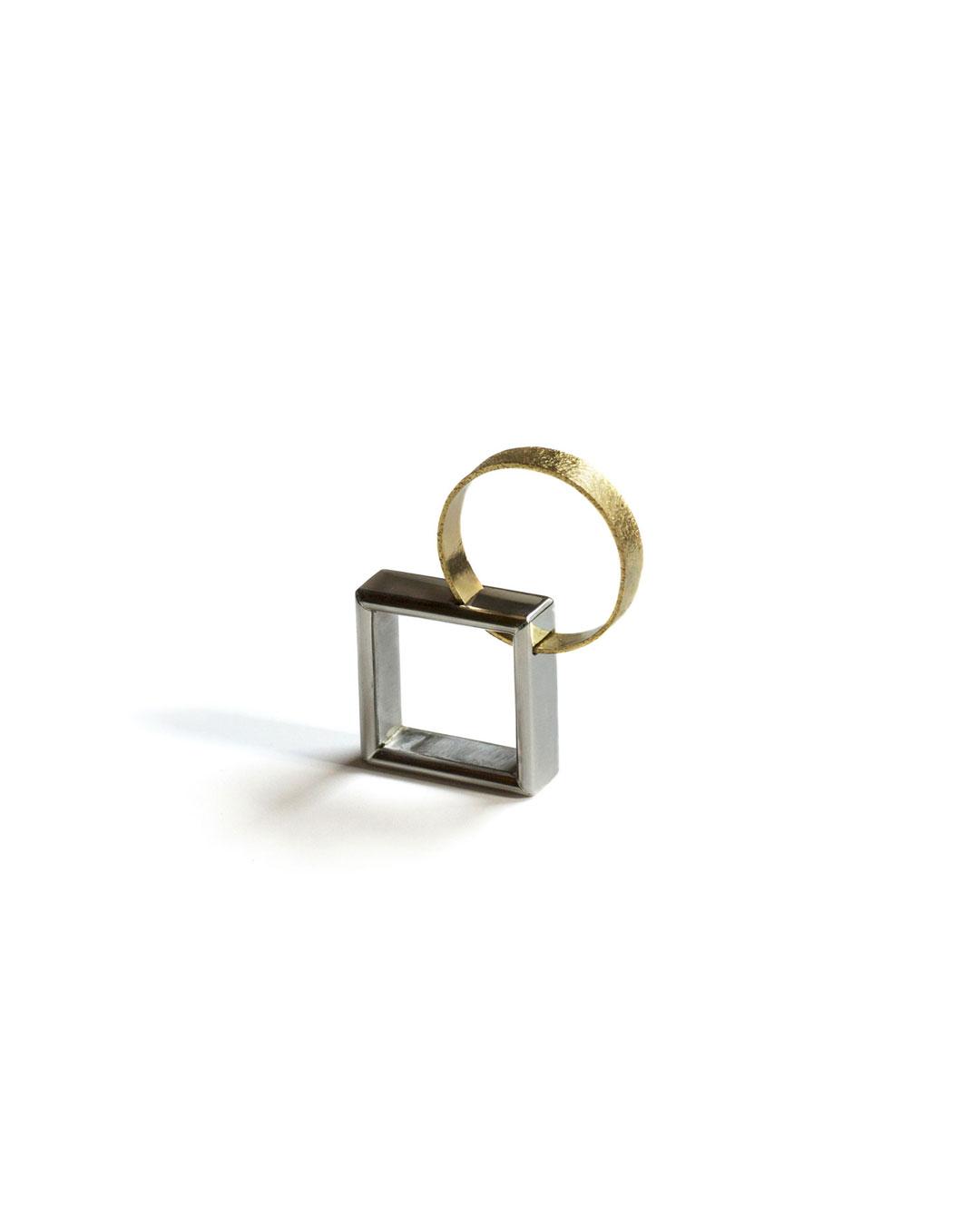 Okinari Kurokawa, untitled, 2013, ring; 20ct gold, stainless steel, 40 x 33 x 8 mm, €1250