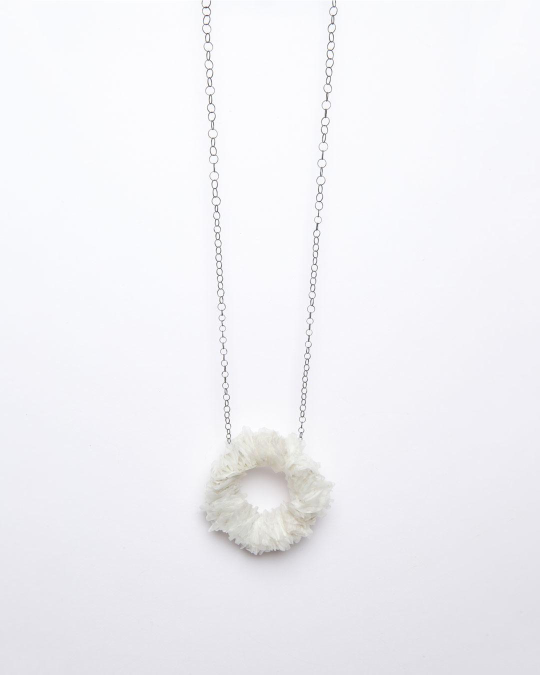 Annamaria Leiste, Die Einheit, 2015, necklace; silver, fish scales, 290 x 60 x 20 mm, €850