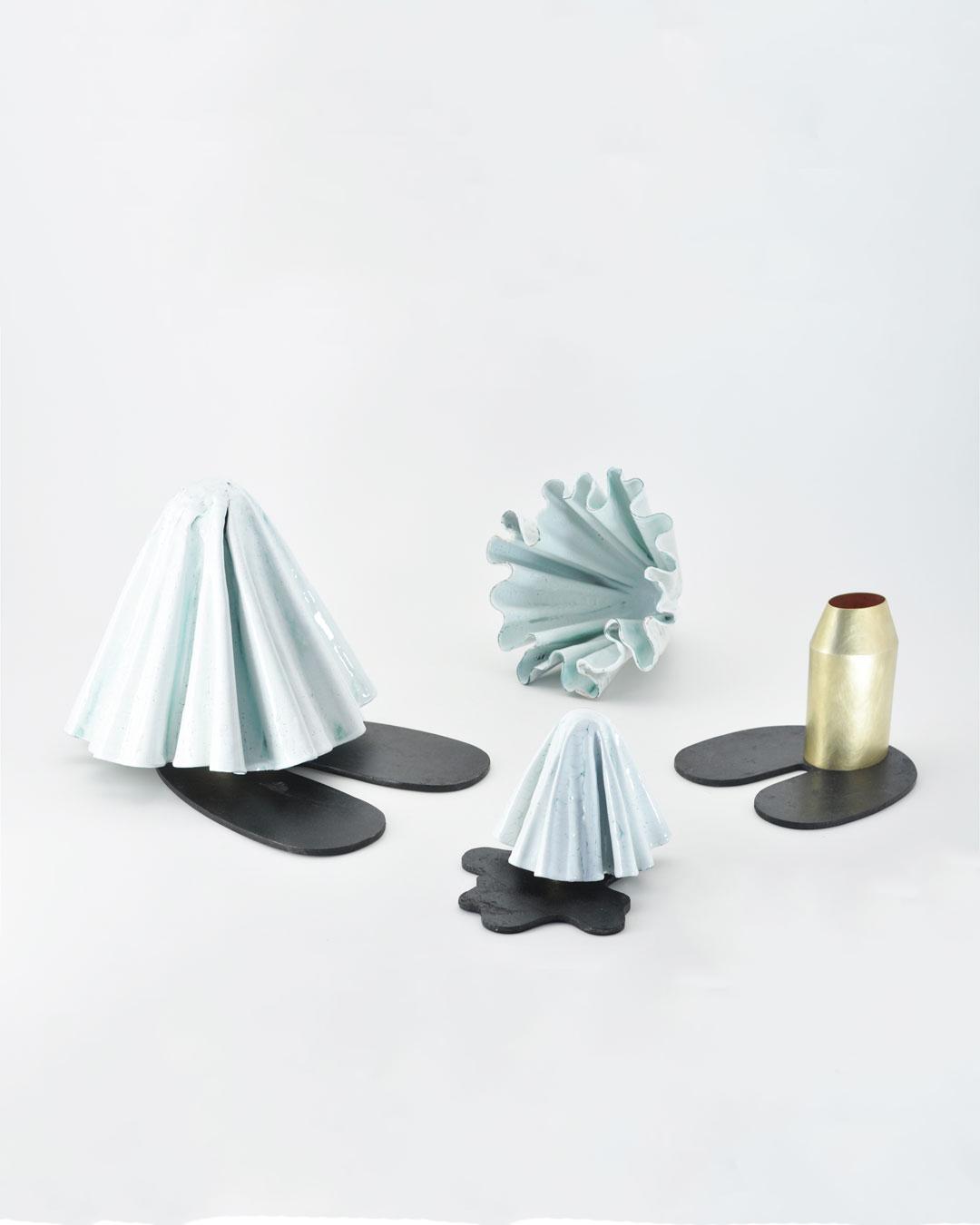 Anders Ljungberg, Pose, 2019, objects; brass, steel, enamelled copper, 260 x 250 x 330 mm / 190 x 195 x 185 mm / 120 x 155 x 185 mm, €7750