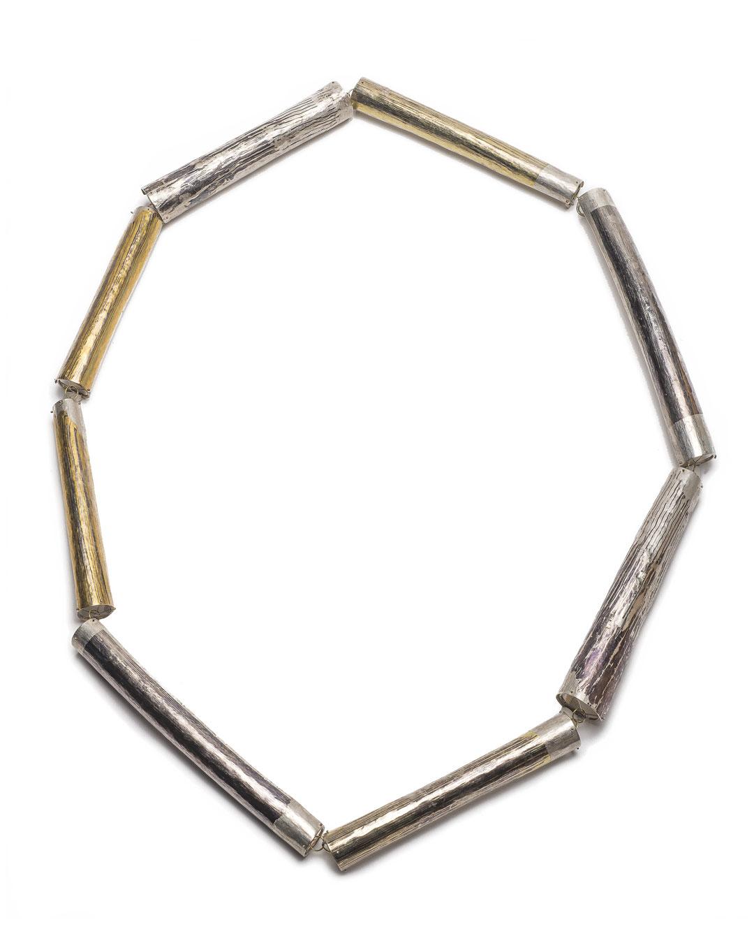 Stefano Marchetti, untitled, 2018, necklace; silver, shibuichi, gold, palladium, 370 x 81 x 6 mm, price on request