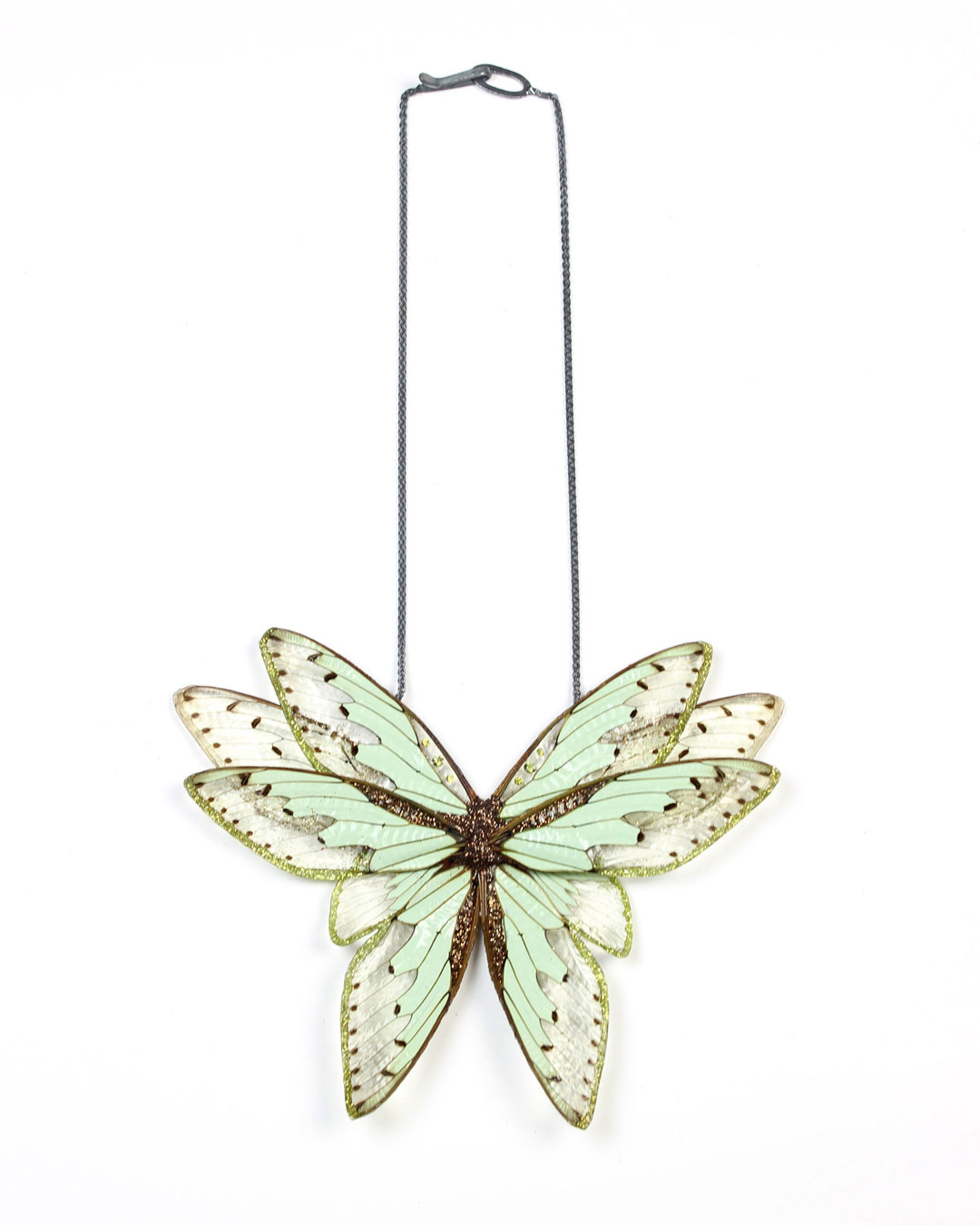 Märta Mattsson, Wings, 2015, necklace; cicadas, resin, pigment, cubic zirconia, lacquer, silver, 300 x 250 x 30 mm, €2420