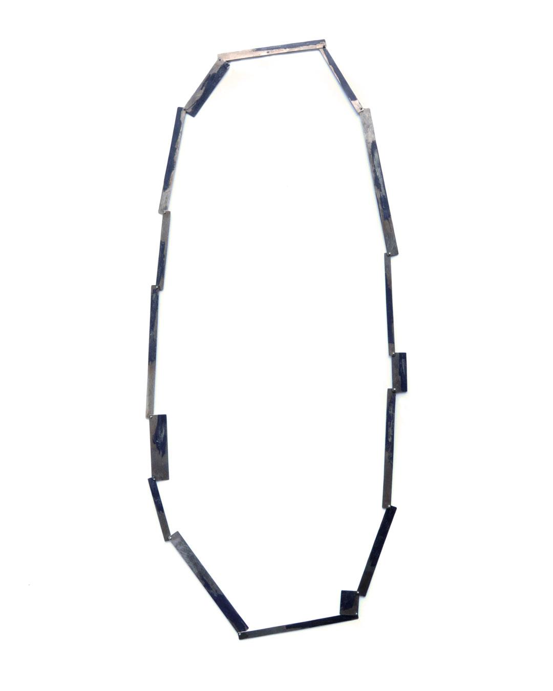 Graziano Visintin, untitled, 2000, necklace; white gold, niello, 420 x 120 mm, price on request