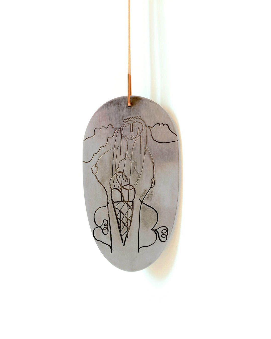 Julia Walter, Mother of Ice Cream, 2017, pendant; aluminium, copper, cotton string, 125 x 230 x 4 mm, €1750