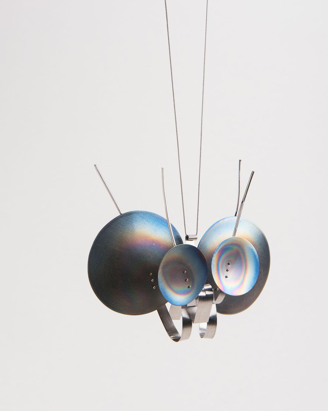Andrea Wippermann, Eriocrania Subpurpurella, 2018, pendant; stainless steel, titanium, nylon, blackened silver, 110 x 120 x 35 mm, €2450