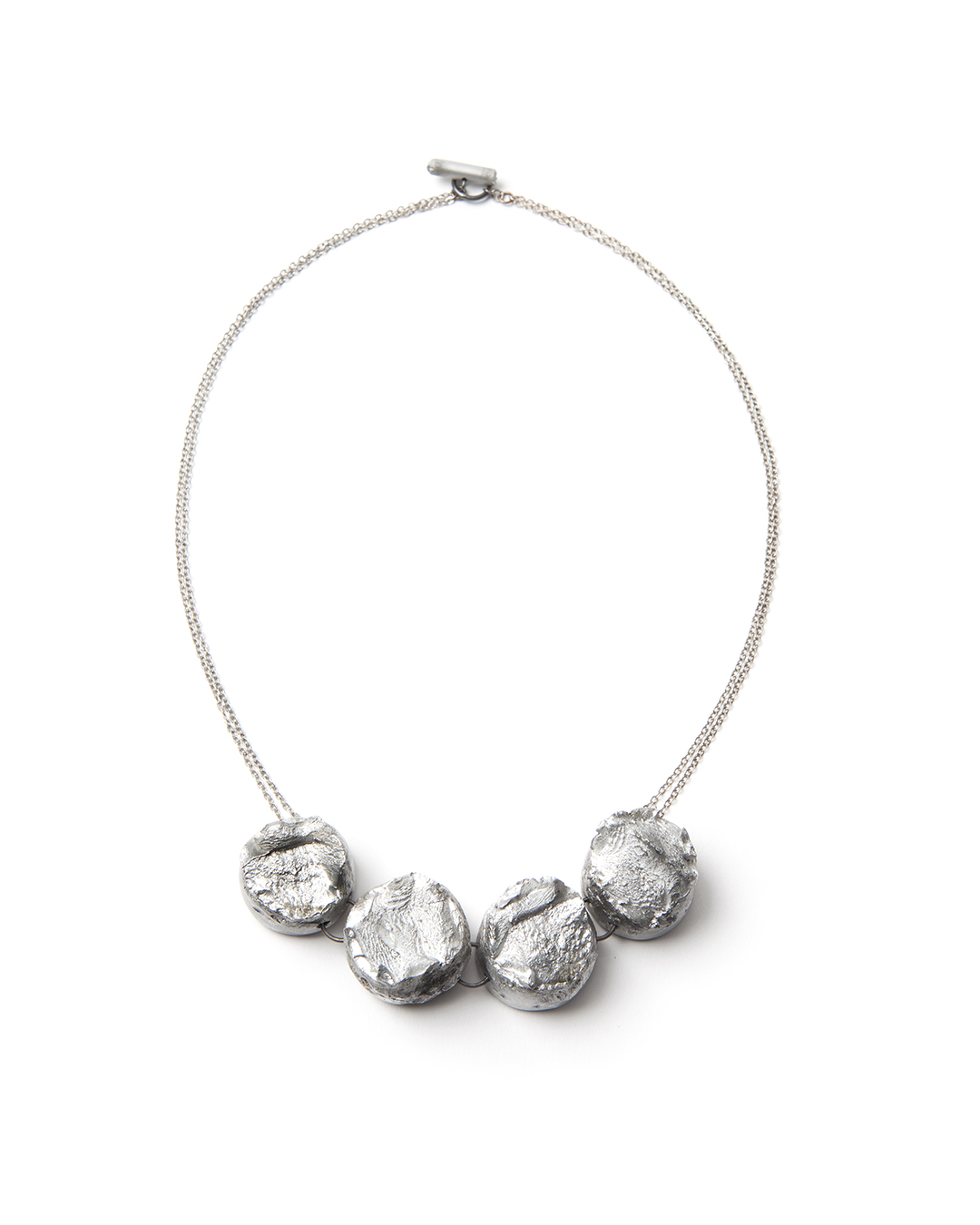 Barbara Schrobenhauser, Fractures I, 2015, necklace; aluminium, stainless steel, silver 450 x 20 x 18 mm, €1825