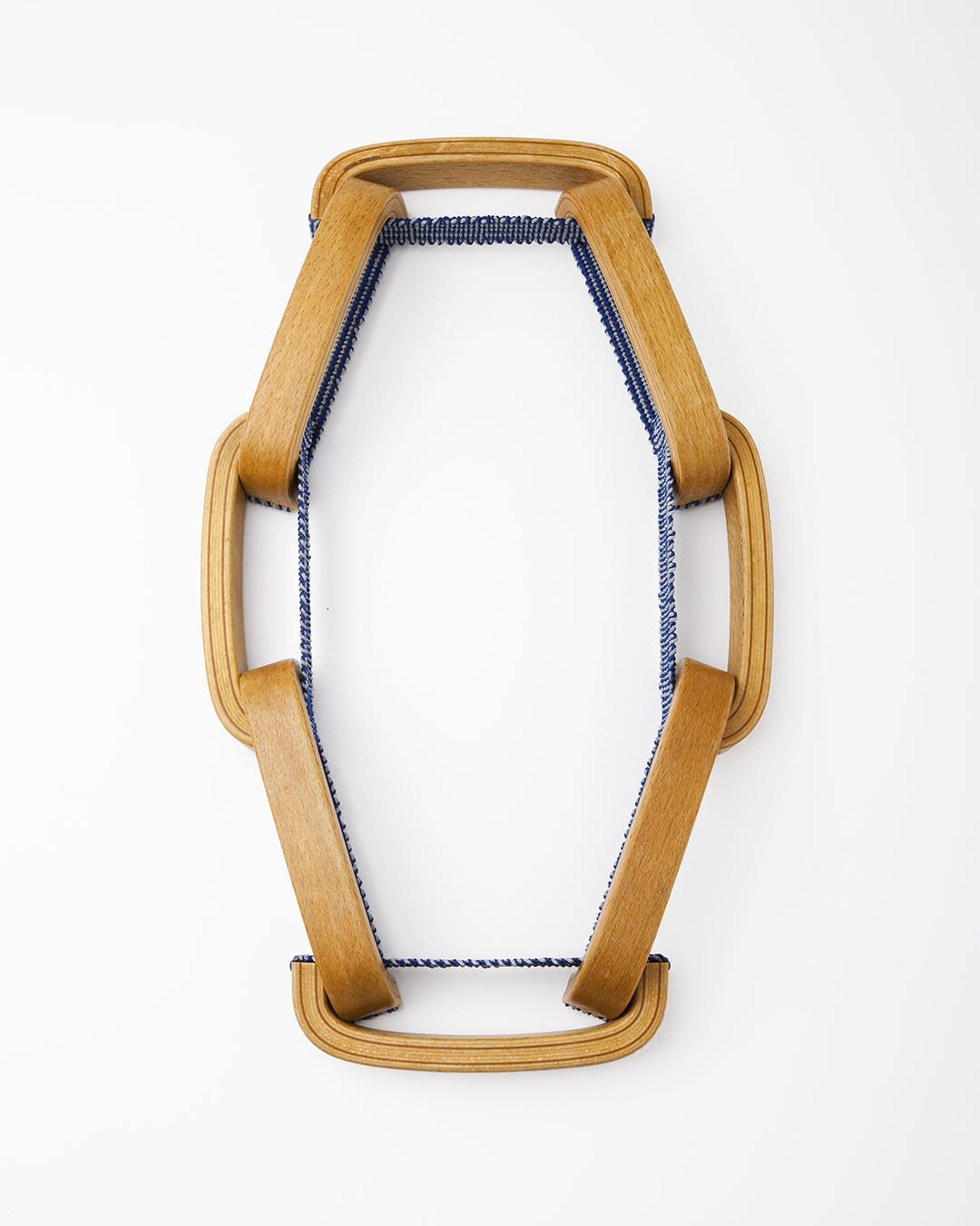 Barbara Schrobenhauser, Vom Tragen und Halten II (From Carrying and Holding), 2017, necklace; used wooden handles, woven strings L 600 mm, €1575