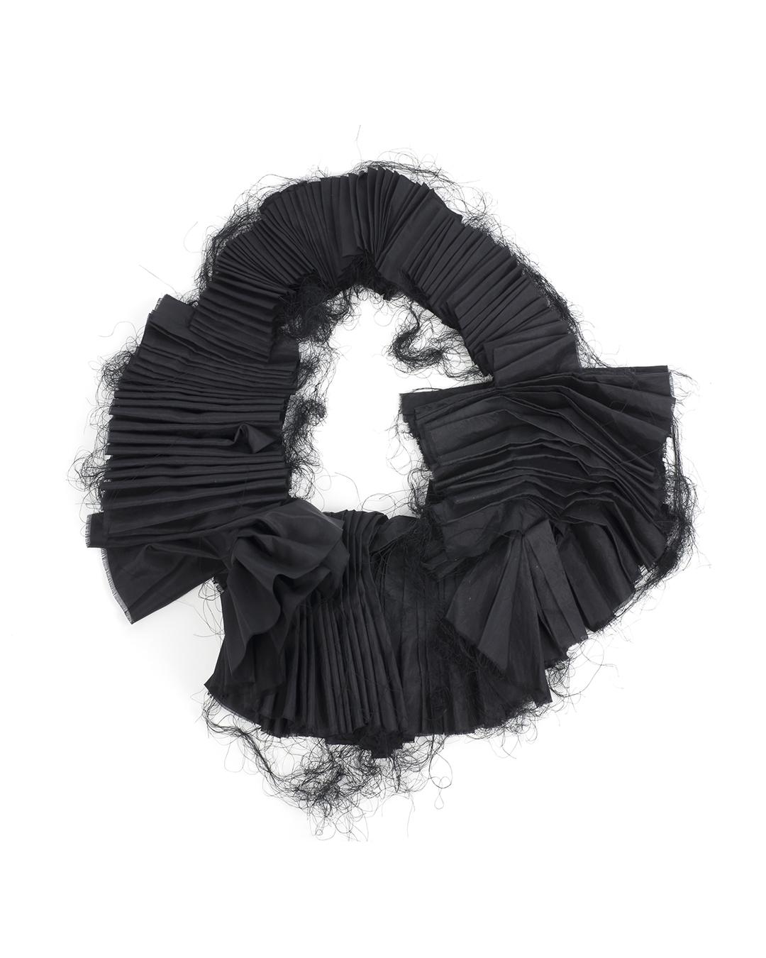 Anna Rusínová, Borrowed Feathers, 2019, necklace; natural silk, thread, 400 x 300 x 130 mm