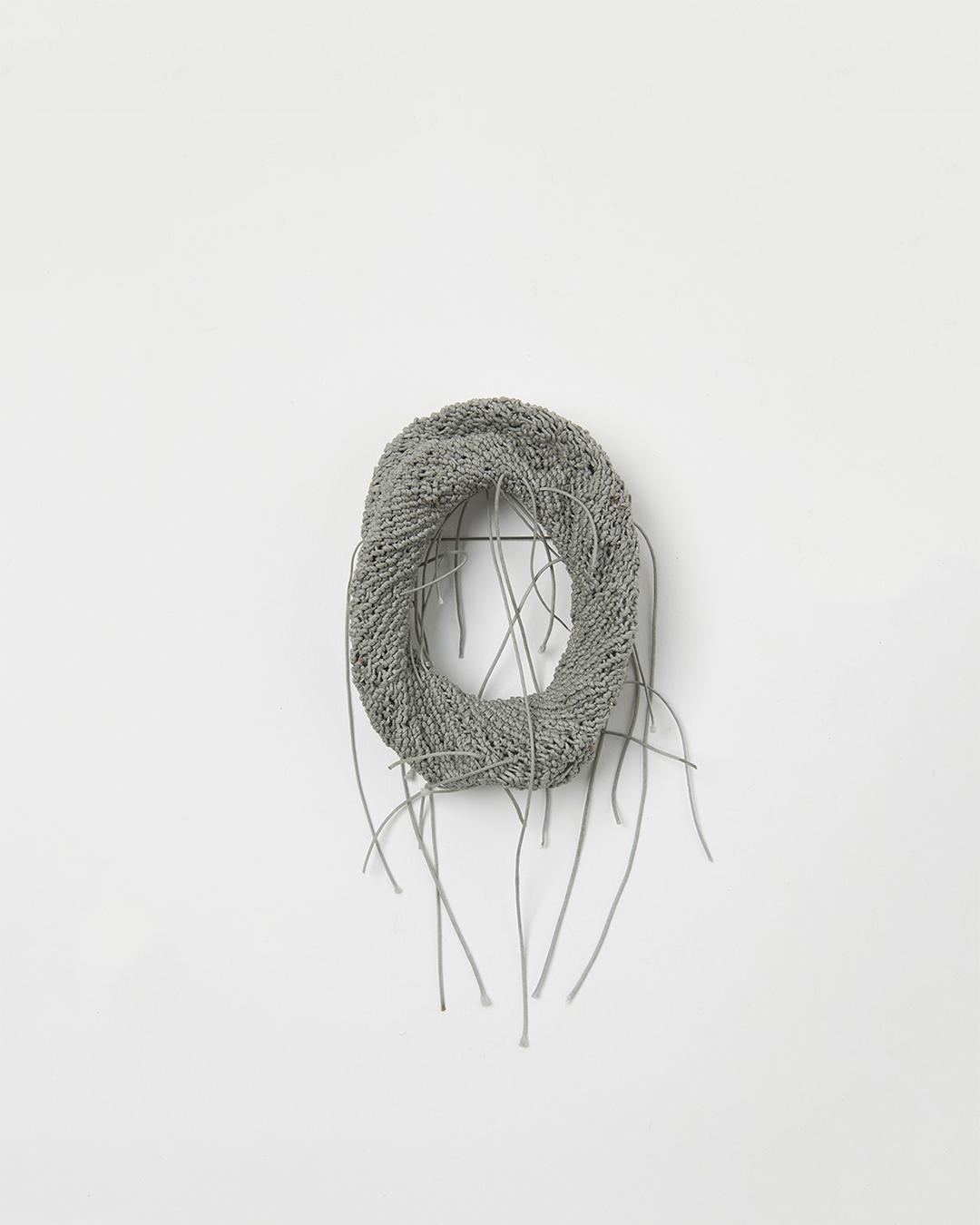 Barbara Schrobenhauser, Grey Net, 2018, brooch; string, silver, stainless steel, 80 x 60 x 20 mm, €1650