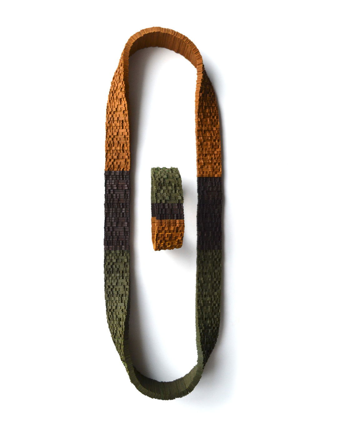 Genevieve Howard, Autumn in Paris, 2018, necklace with bracelet; Japanese linen paper, walnut, elastic cord, 310 x 200 x 25 mm / 70 x 25 mm, €2800
