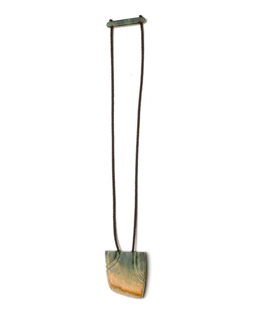 Neke Moa, Takirua - Dualities, 2018, necklace; pounamu, wax cord, paint,  60 x 80 x 20 mm, €550 (image 1 of 2)