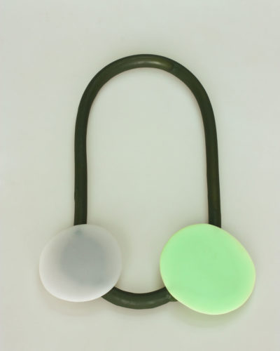 Ela Bauer, necklace, 2018-2020, resin, pigment, silicone rubber, 310 x 210 x 12 mm, €820
