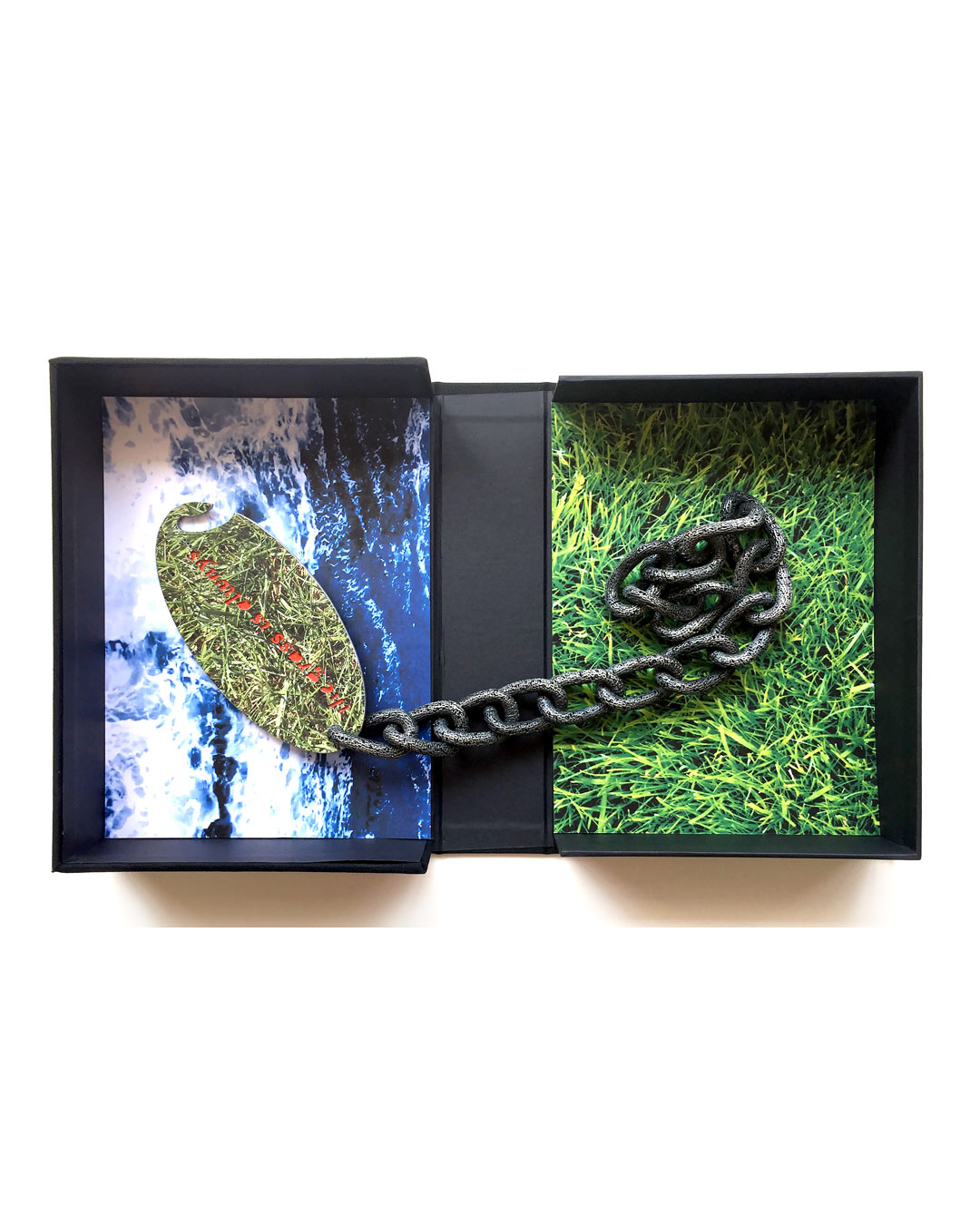 Jonathan Boyd, Grass is Greener…, necklace, silver, UV printed aluminium, lacquer, steel, 300 x 300 x 30 mm, €7000