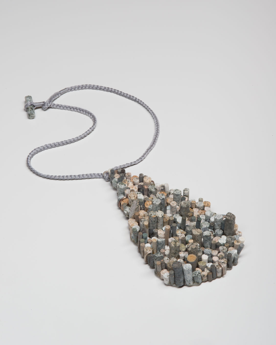 Lisa Walker, untitled, 2020, pendant; various stones, silver, cord, €5350