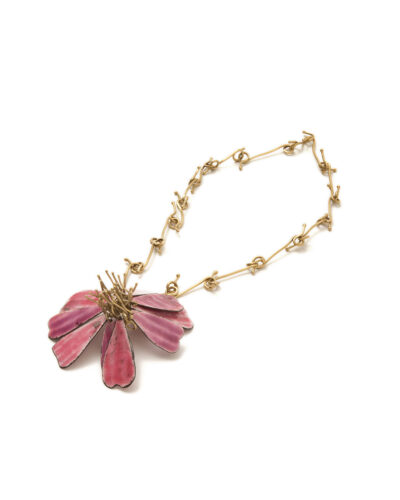 Ruby Gardner-Russell Camellia, 2019, necklace; vitreous enamel, steel, brass 300 x 100 mm