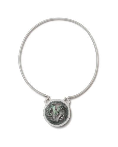 Courtney Hogan Specimens, 2019, necklace; vinyl tube, silver, shimmer powder 280 x 180 x 25 mm