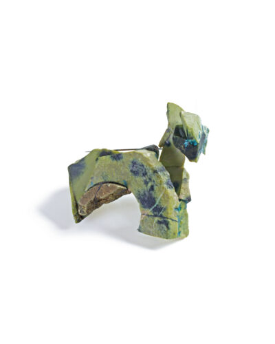 Tia Liang, Stone Knows the Answer 001, 2020, brooch; serpentine, chalcopyrite, oxidised silver, steel, paint 60 x 50 x 35 mm