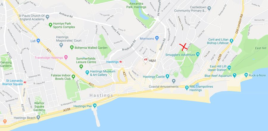 Map-of-the-location-of-Thai-Massage-Deep-Tissue-Massage-Hastings-St-Leonards-East-Sussex-Location