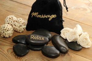 massage, stones, black