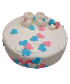gender reveal geboorte taart schoentjes