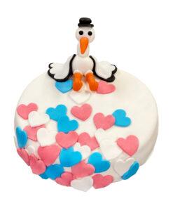 gender reveal geboorte taart