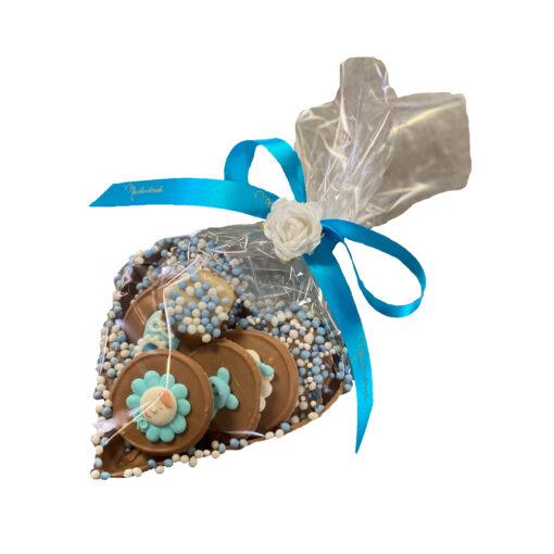 geboortehart blauw chocolade