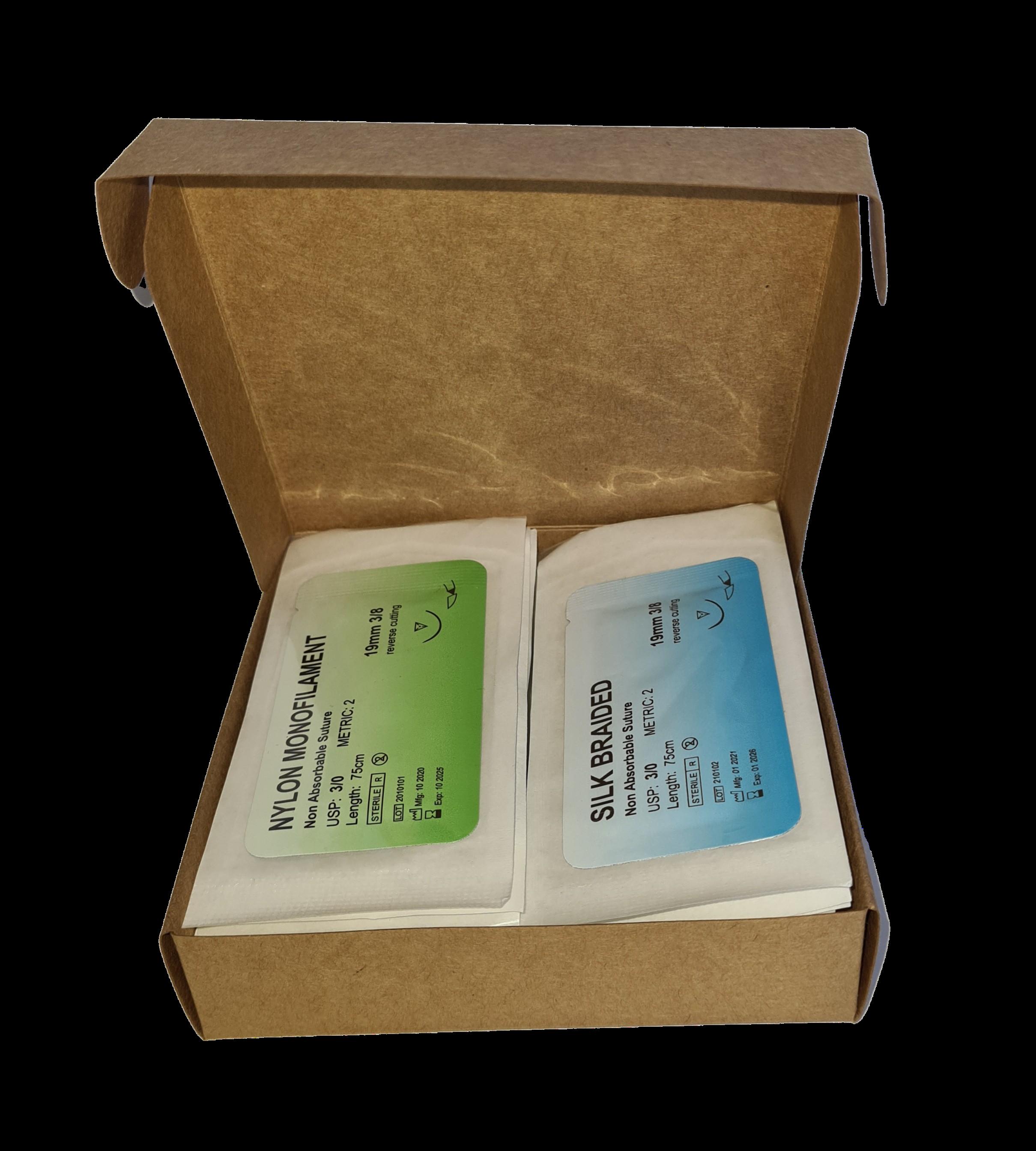 Mast Medical hechtmateriaal_clean Hechtdraad - hechtmateriaal - nylon en zijden hechtdraden - geneeskunde hechtset draden - 24 stuks - monofilamenten & multifilamenten