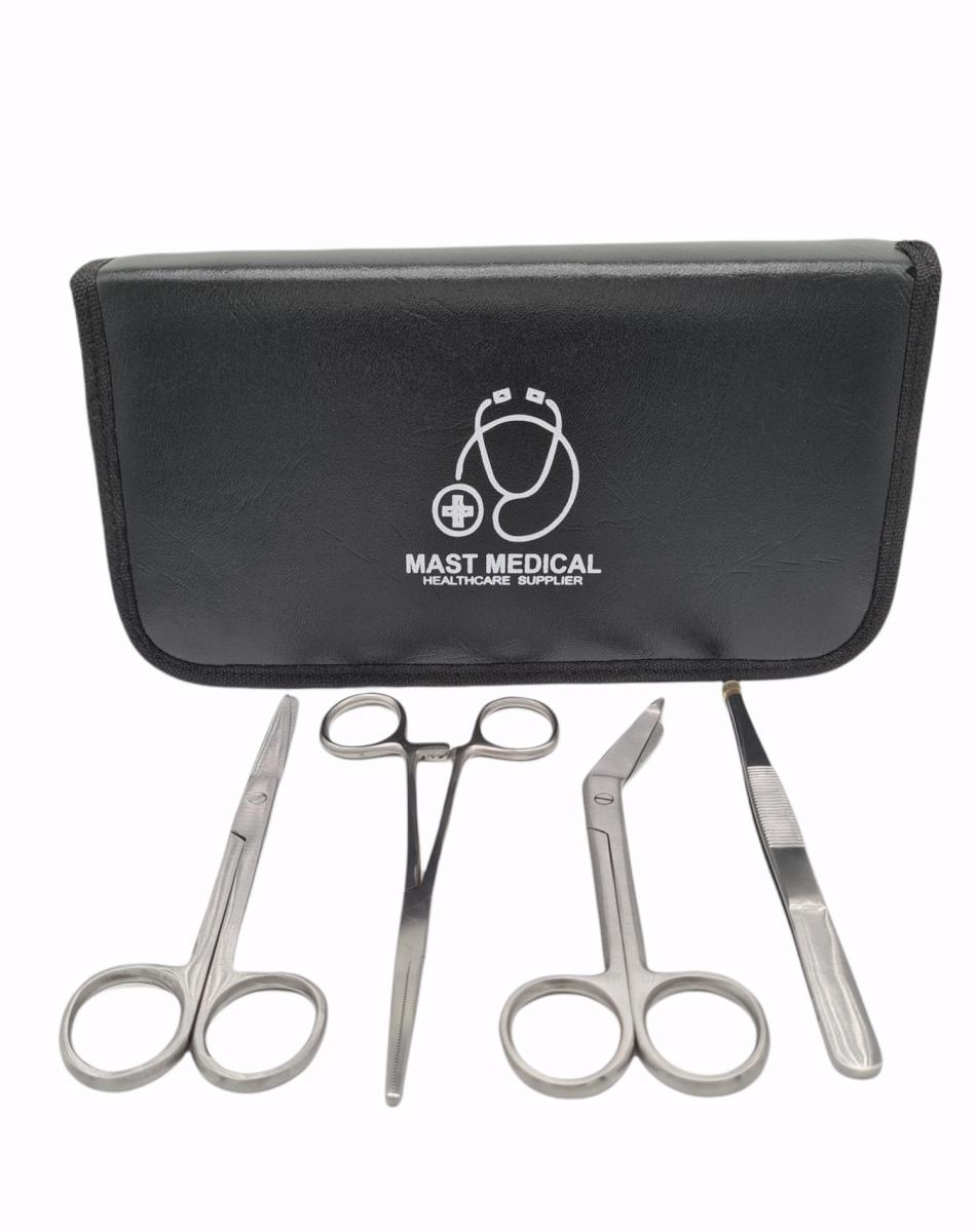 Mast Medical Verpleegkundeset_vooraanzicht Verpleegkundeset - scharenset verpleegkundige - kocher schaar - verbandschaar - chirurgische schaar - pincet