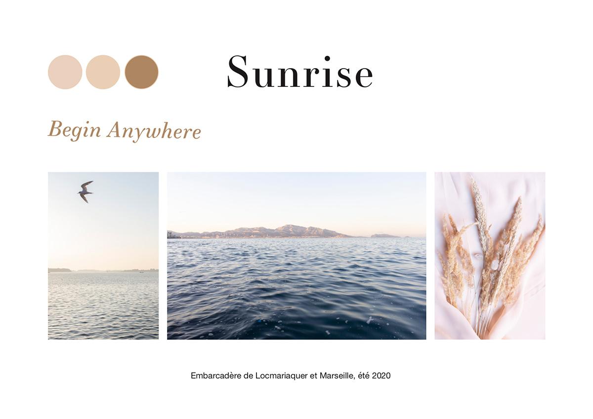 Sunrise, moodboard réalisé par la photographe Mathilde Troussard