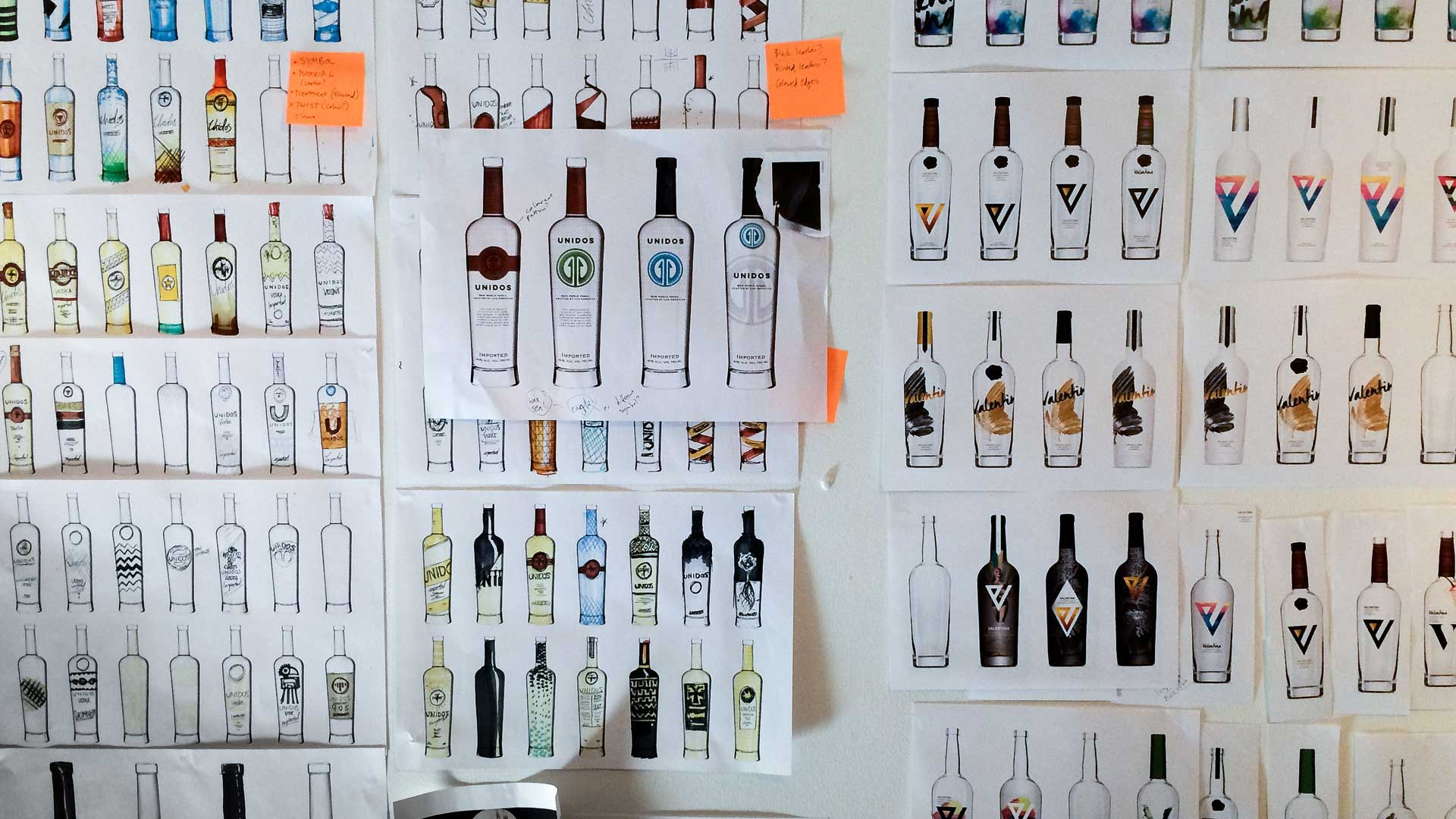 Wall of concar vodka bottle sketches