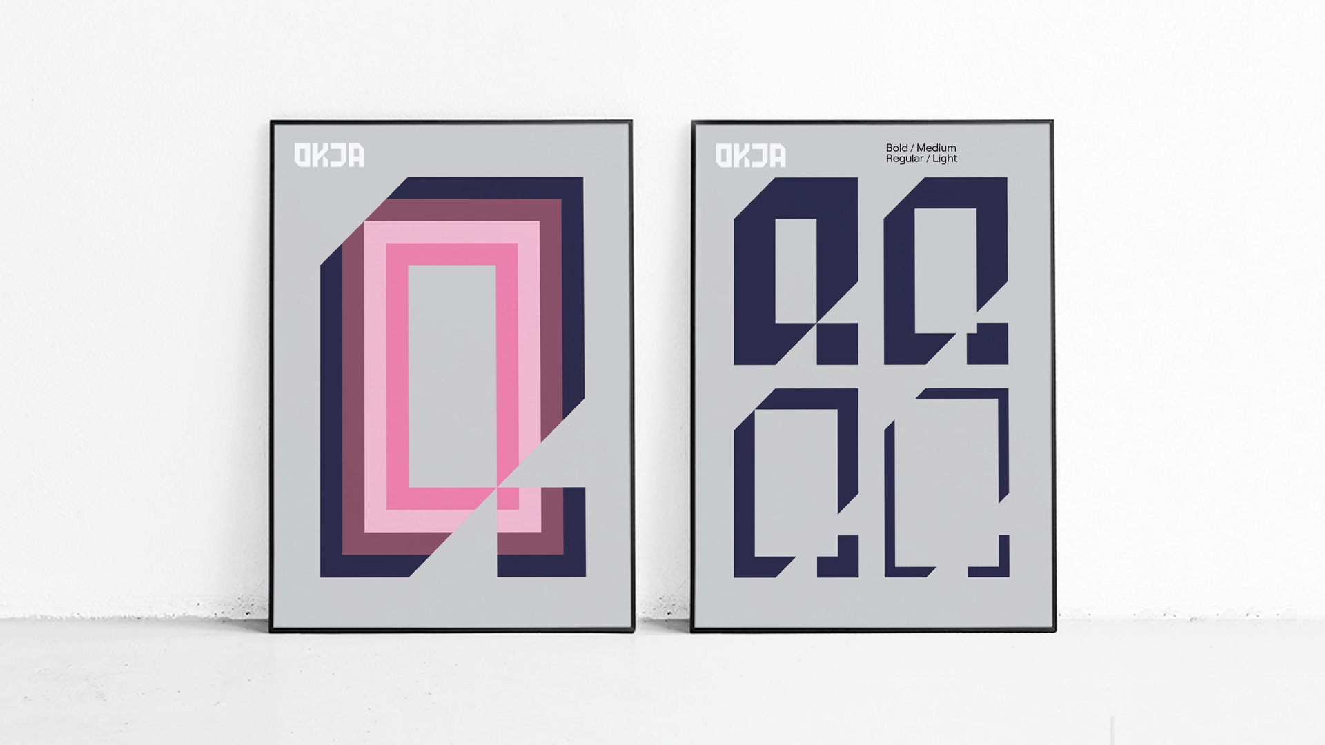 two posters of custom typeface