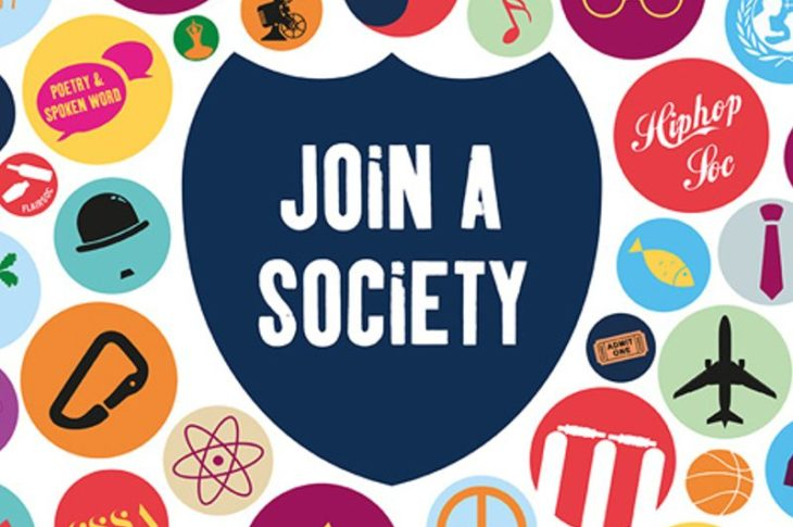 "Bagde saying ""Join a Society"" next to other badges with societies names on it"