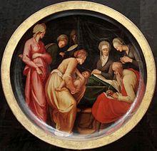 Nativity of Saint John the Baptist, by Pontormo, created 1526. https://en.wikipedia.org/wiki/Nativity_of_Saint_John_the_Baptist_(Pontormo)#/media/File:Pontormo,_nativit%C3%A0_del_battista_01.jpg