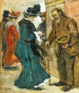 Photo: Woman giving alms by János Thorma 1870 – 1937. Virág Judit GalériaInfoPic, Public Domain, https://commons.wikimedia.org/w/index.php?curid=18377345