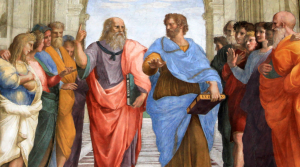 Plato and Aristotle walking and disputing. Detail from Raphael's The School of Athens – 1509–1511. https://en.wikipedia.org/wiki/Lyceum_(Classical)#/media/File:Sanzio_01_cropped.png