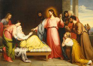 Christ Healing the Mother of Simon Peter's Wife by John Bridges, 1839. https://en.wikipedia.org/wiki/Healing_the_mother_of_Peter%27s_wife#/media/File:Christ_Healing_the_Mother_of_Simon_Peter%E2%80%99s_Wife_by_John_Bridges.jpg