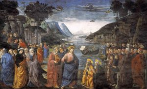 Vocation of the Apostles, a fresco in the Sistine Chapel by Domenico Ghirlandaio, 1481-1482. https://en.wikipedia.org/wiki/Commissioning_of_the_Twelve_Apostles#/media/File:Ghirlandaio,_Domenico_-_Calling_of_the_Apostles_-_1481.jpg