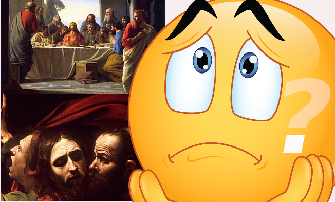 [Judas Iscariot (right), retiring from the Last Supper, painting by Carl Bloch, late 19th century - https://en.wikipedia.org/wiki/Judas_Iscariot#/media/File:The-Last-Supper-large.jpg & The Taking of Christ-Caravaggio (c.1602) - https://en.wikipedia.org/wiki/The_Taking_of_Christ_(Caravaggio)#/media/file:The_Taking_of_Christ-Caravaggio_(c.1602).jpg]